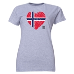 Norway FIFA Women's World Cup Canada 2015(TM) Women's Heart Flag T-Shirt (Grey)