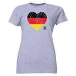 Germany FIFA Women's World Cup Canada 2015(TM) Women's Heart Flag T-Shirt (Grey)