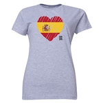 Spain FIFA Women's World Cup Canada 2015(TM) Women's Heart Flag T-Shirt (Grey)