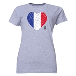 France FIFA Women's World Cup Canada 2015(TM) Women's Heart Flag T-Shirt (Grey)