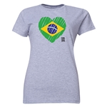 Brazil FIFA Women's World Cup Canada 2015(TM) Women's Heart Flag T-Shirt (Grey)