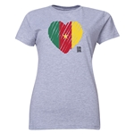 Cameroon FIFA Women's World Cup Canada 2015(TM) Women's Heart Flag T-Shirt (Grey)