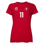 Switzerland FIFA Women's World Cup Canada 2015(TM) Player Women's T-Shirt (Red)