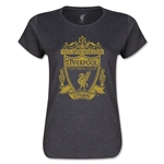 Liverpool Distressed Crest Women's T-Shirt (Dark Gray)