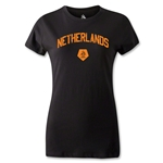 Netherlands Distressed Women's T-Shirt (Black)