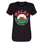 Wales Euro 2016 Core Womens T-Shirt (Black)