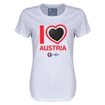 Austria Euro 2016 Heart Womens T-Shirt (White)