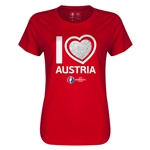 Austria Euro 2016 Heart Womens T-Shirt (Red)
