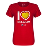 Belgium Euro 2016 Heart Womens T-Shirt (Red)