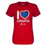 Ceoatia Euro 2016 Heart Womens T-Shirt (Red)