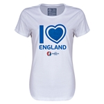 England Euro 2016 Heart Womens T-Shirt (White)