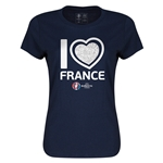 France Euro 2016 Heart Womens T-Shirt (Navy)
