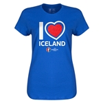 Iceland Euro 2016 Heart Womens T-Shirt (Royal)