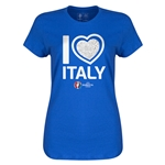 Italy Euro 2016 Heart Womens T-Shirt (Royal)