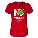 Wales Euro 2016 Heart Womens T-Shirt (Red)