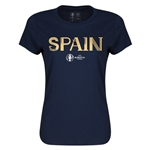 Spain Euro 2016 Core Womens T-Shirt (Navy)