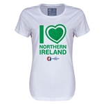 Northern Ireland Euro 2016 Heart Womens T-Shirt (White)