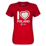 Poland Euro 2016 Heart Womens T-Shirt (Red)