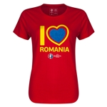 Romania Euro 2016 Heart Womens T-Shirt (Red)