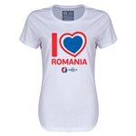 Romania Euro 2016 Heart Womens T-Shirt (White)