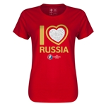 Russia Euro 2016 Heart Womens T-Shirt (Red)
