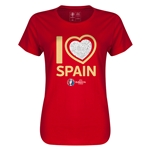 Spain Euro 2016 Heart Womens T-Shirt (Red)