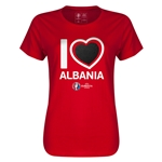 Albania Euro 2016 Heart Womens T-Shirt (Red)