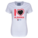 Albania Euro 2016 Heart Womens T-Shirt (White)
