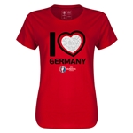Germany Euro 2016 Heart Womens T-Shirt (Red)