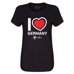 Germany Euro 2016 Heart Womens T-Shirt (Black)