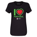 Portugal Euro 2016 Heart Womens T-Shirt (Black)