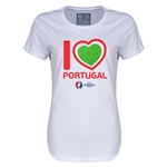 Portugal Euro 2016 Heart Womens T-Shirt (White)