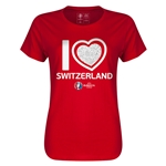 Switzerland Euro 2016 Heart Womens T-Shirt (Red)