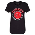 Turkey Euro 2016 Core Womens T-Shirt (Black)