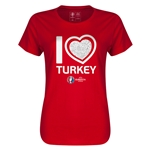Turkey Euro 2016 Heart Womens T-Shirt (Red)