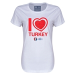 Turkey Euro 2016 Heart Womens T-Shirt (White)