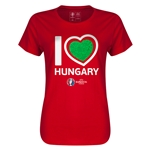 Hungary Euro 2016 Heart Womens T-Shirt (Red)