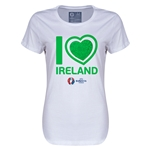 Ireland Euro 2016 Heart Womens T-Shirt (White)