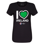 Ireland Euro 2016 Heart Womens T-Shirt (Black)
