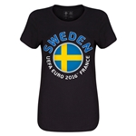 Sweden Euro 2016 Core Womens T-Shirt (Black)