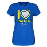 Sweden Euro 2016 Heart Womens T-Shirt (Royal)