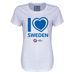 Sweden Euro 2016 Heart Womens T-Shirt (White)