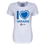 Ukraine Euro 2016 Heart Womens T-Shirt (White)