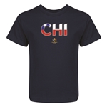 Chile Copa America 2016 Flag Letter Kids T-Shirt (Navy)