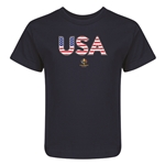 USA Copa America 2016 Flag Letter Kids T-Shirt (Navy)