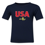USA CONCACAF Gold Cup 2015 Kids Big Logo T-Shirt (Navy)