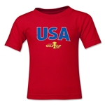 USA CONCACAF Gold Cup 2015 Kids Big Logo T-Shirt (Red)