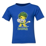 2010 FIFA World Cup Zakumi Kids Mascot Logo T-Shirt (Royal)