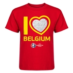 Belgium Euro 2016 Heart Kid's T-Shirt (Red)