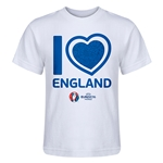 England Euro 2016 Heart Kid's T-Shirt (White)